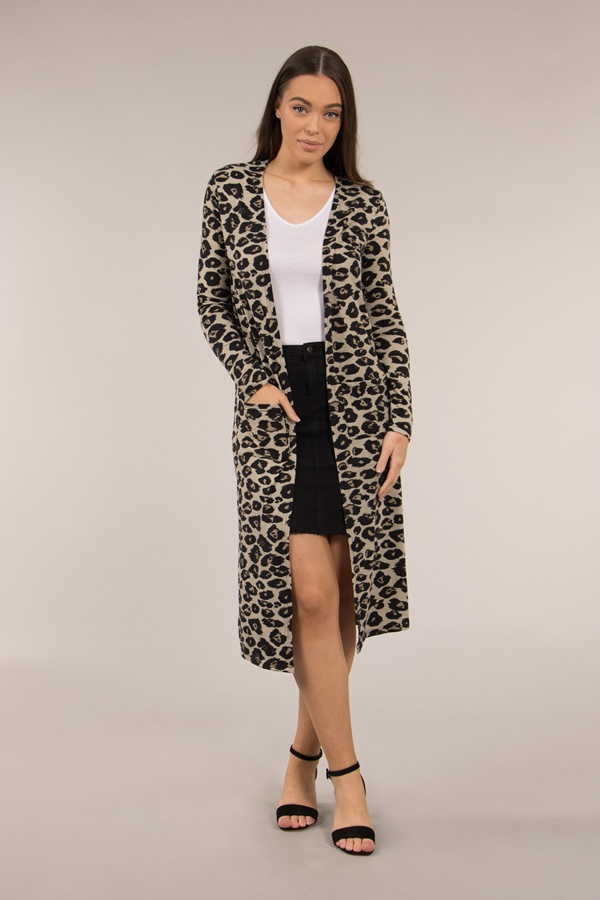 LONG ANIMAL PRINTED CARDIGAN