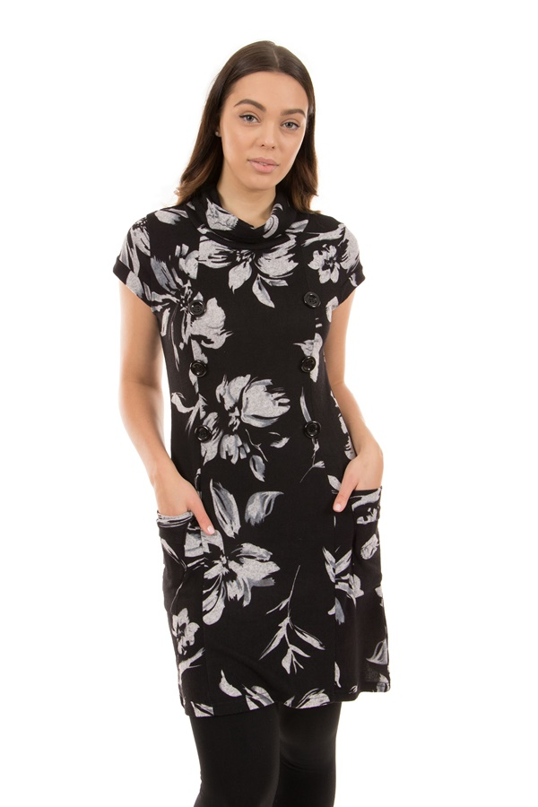 Floral Cap Sleeve Cowl Neck Tunic