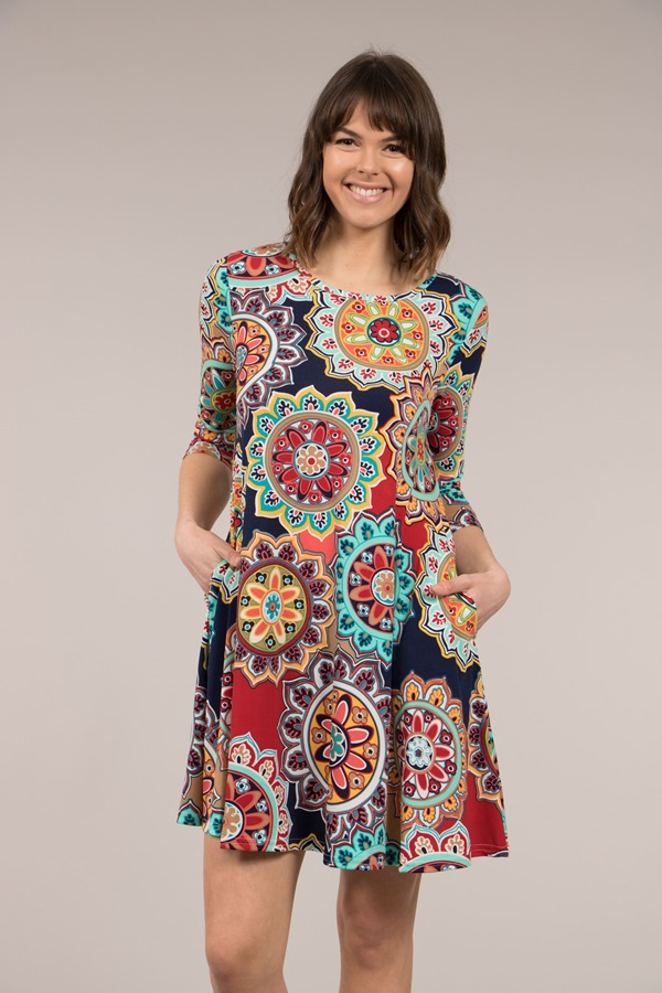 Colourful Pattern Printed Dress