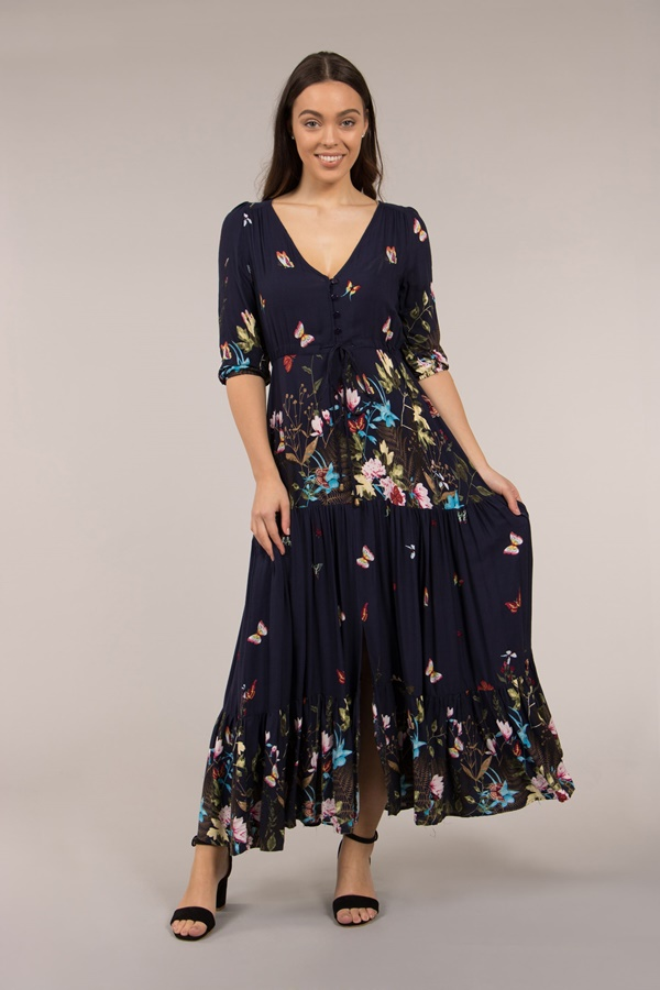 Butterfly Printed Maxi Dress