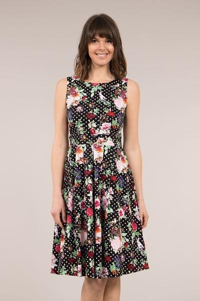 Floral Polka Dot Printed Dress