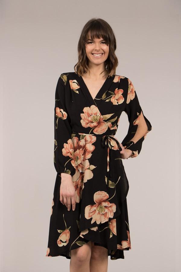 Split sleeve printed wrap dress