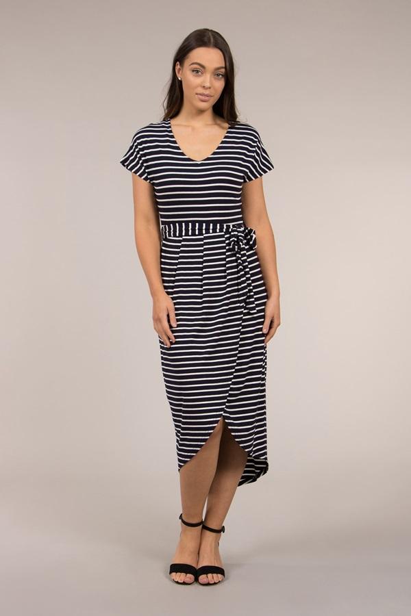 Stripe Tulip Hem Maxi Dress