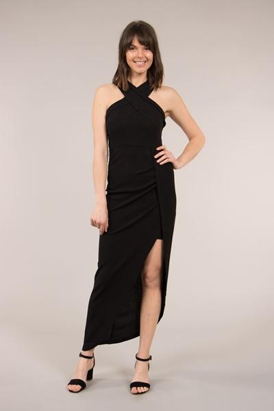 Crossover Halter Neck Dress