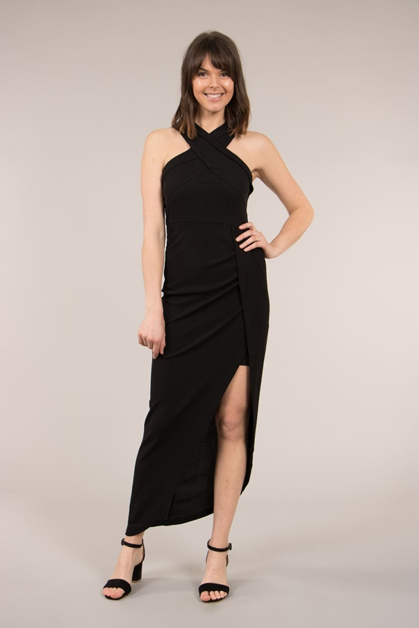 Crossover Halter Neck Dress