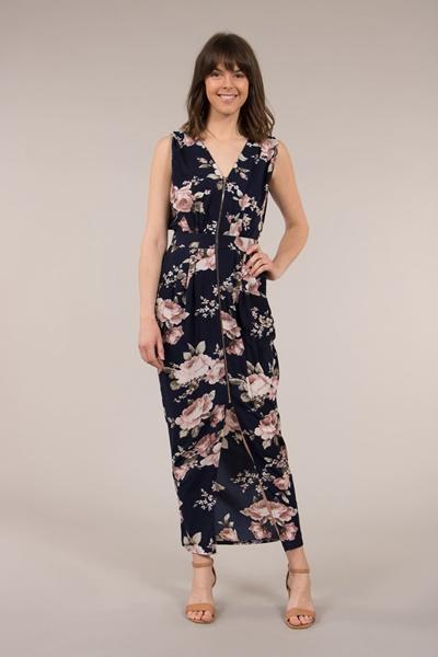 Printed Zip Front Dress