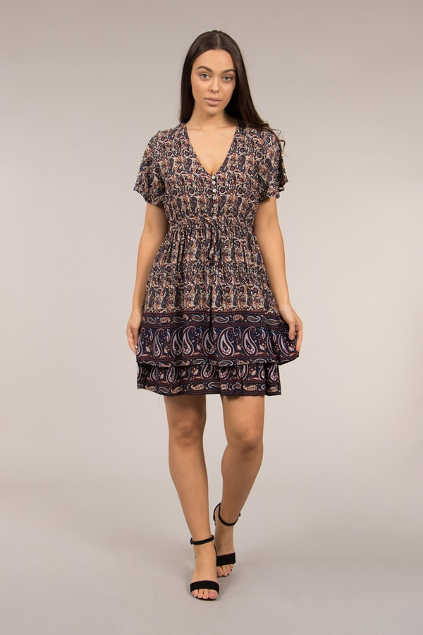 BORDER PRINT DRESS WITH FRONT BUTTON