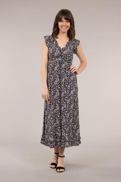 Paisley Frill Midi Dress
