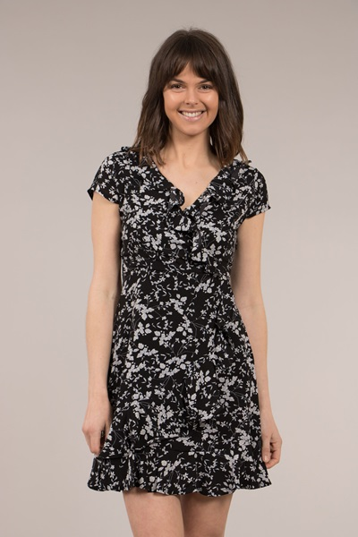 Floral Frill Wrap Dress