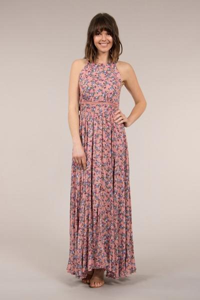 Halter Neck Floral Dress