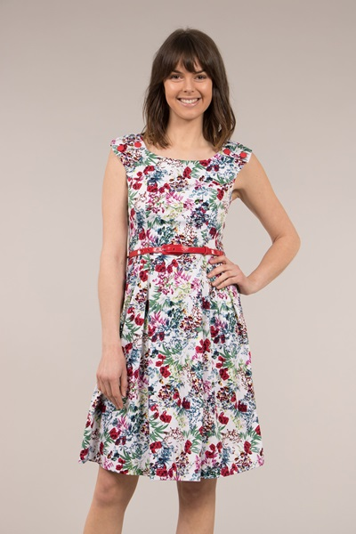 Crossover Neckline Floral Dress