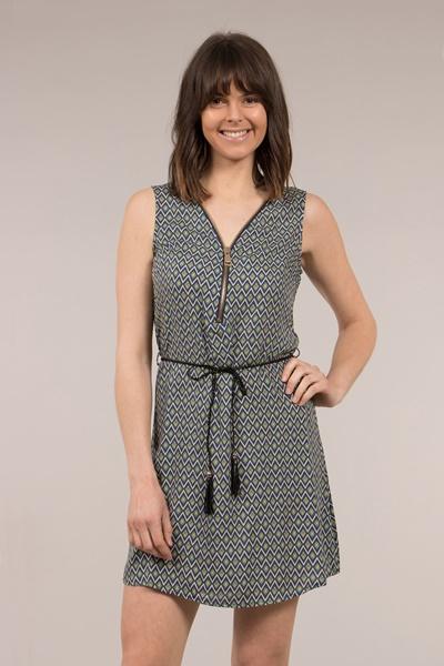 Zip Front Printed Dress