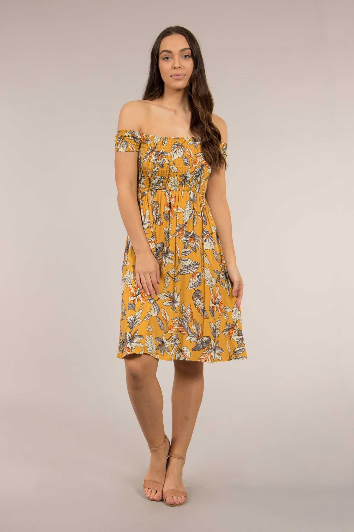 17f2e21ae0e1b PRINTED SHIRRED DRESS – FEMME Connection