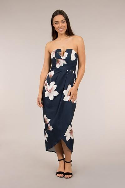 Overlap Front Floral Dress