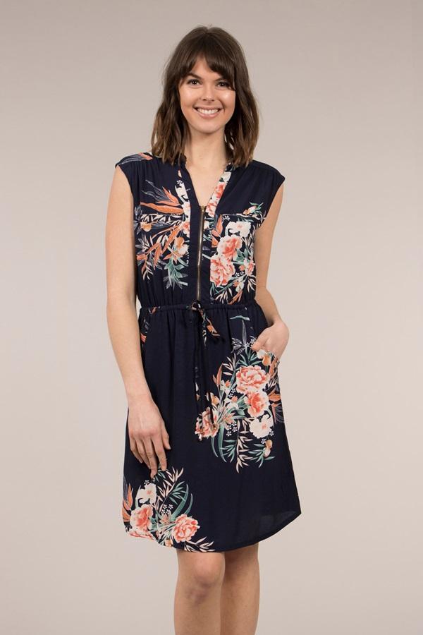 Front Zip Floral Dress