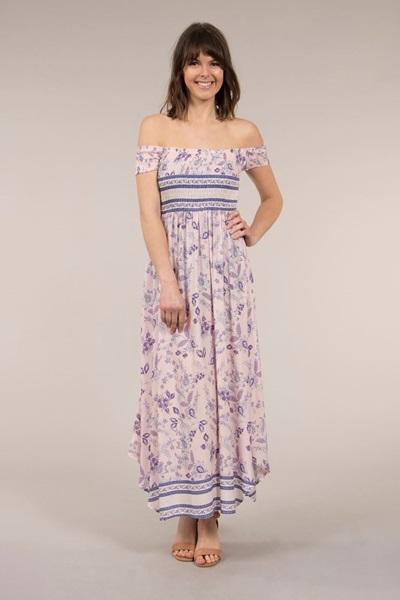 Printed Shirred Dress
