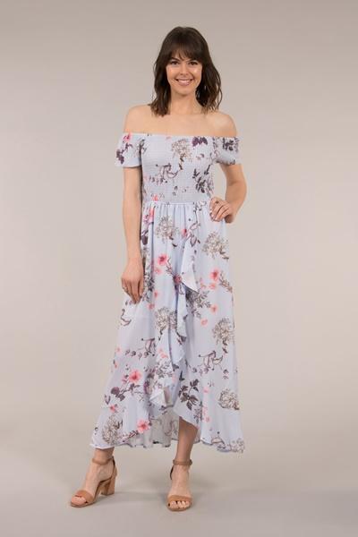 Shirred Floral Print Dress