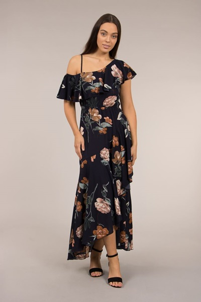 One Shoulder Printed Maxi Dress