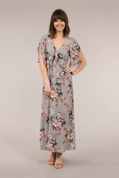 Angel Sleeve Floral Dress