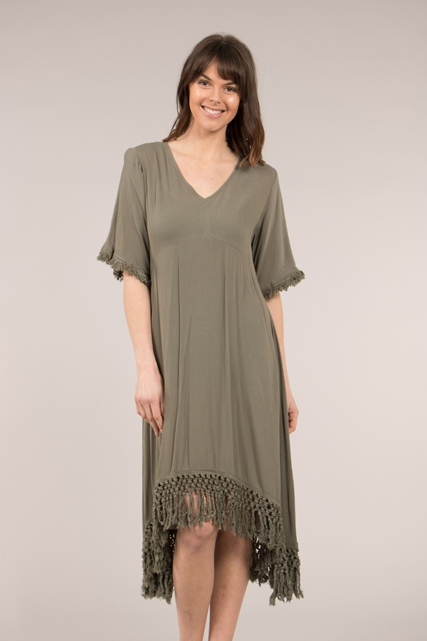 V-neck Dress with Hem Fringe
