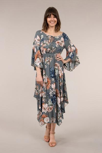 Flute Sleeve Floral Dress