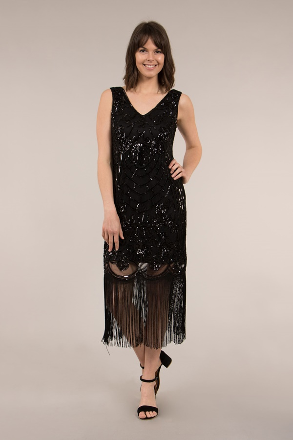 Fringe Hem Sequin Dress