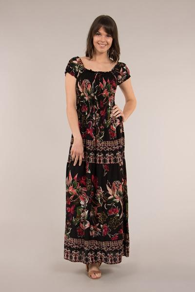 Shirred Bodice Maxi Dress