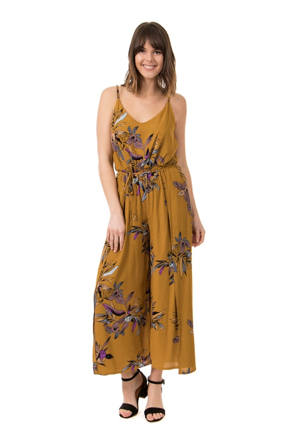 Printed Floral Jumpsuit With Wrap Front