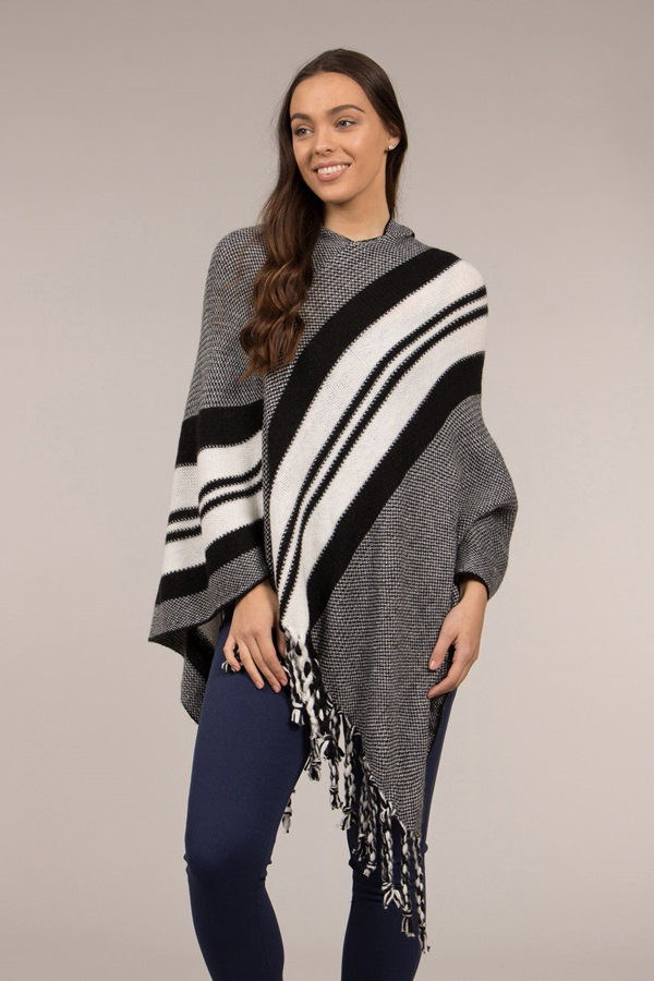 Fringed Hem Stripe Pattern Poncho With Hood