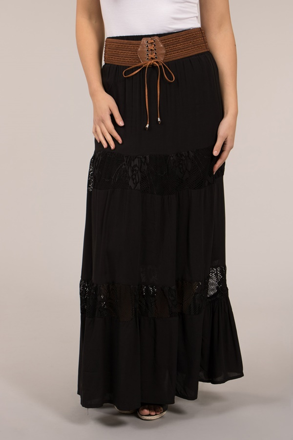 Maxi Lace Panel Skirt