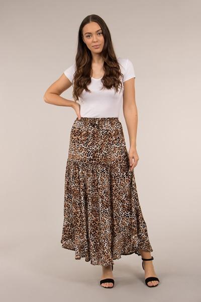 Long Animal Print Skirt with Waist Ties