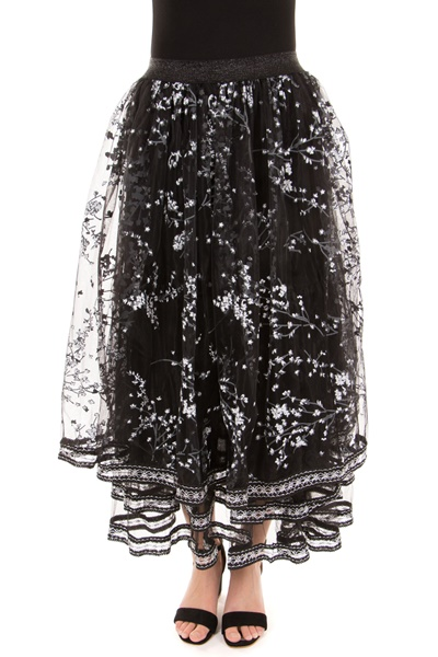 Floral Printed Lace Skirt