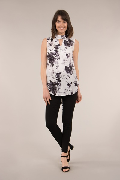 Printed Blouse with Front Cutout