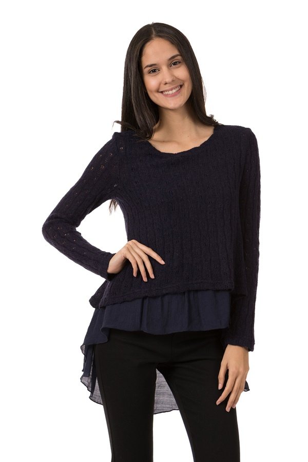 Double Layer Pointelle Top