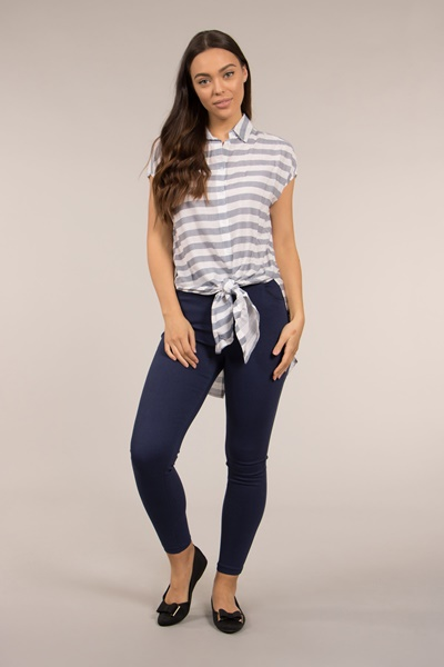 Front Knot Stripe shirt