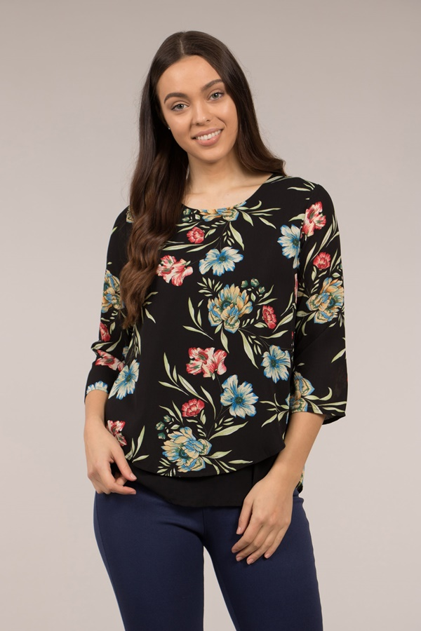 Printed Double Layered Blouse