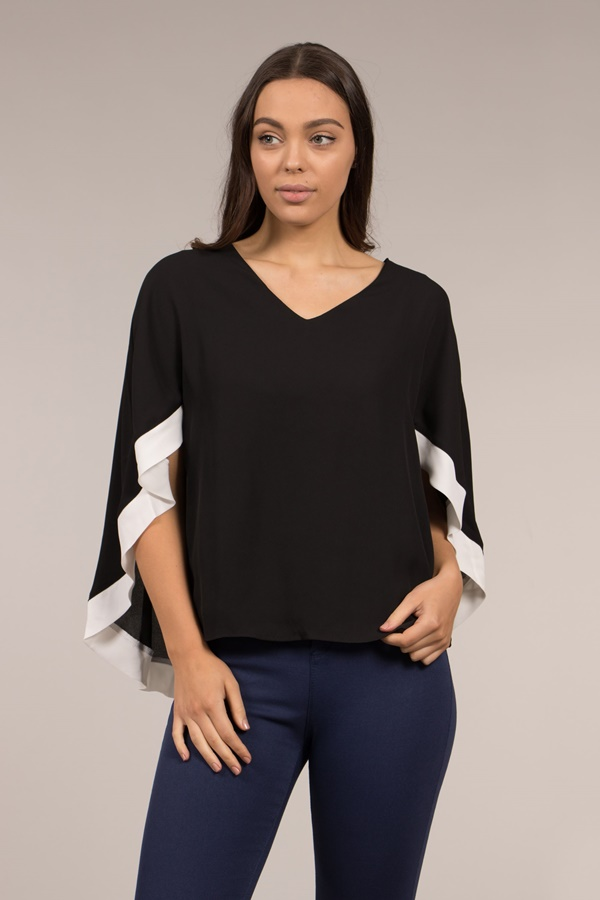 Batwing Overlay Blouse