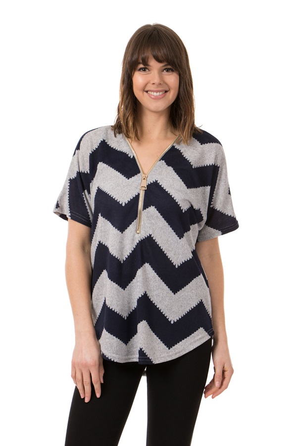 Chevron Zip Front Top