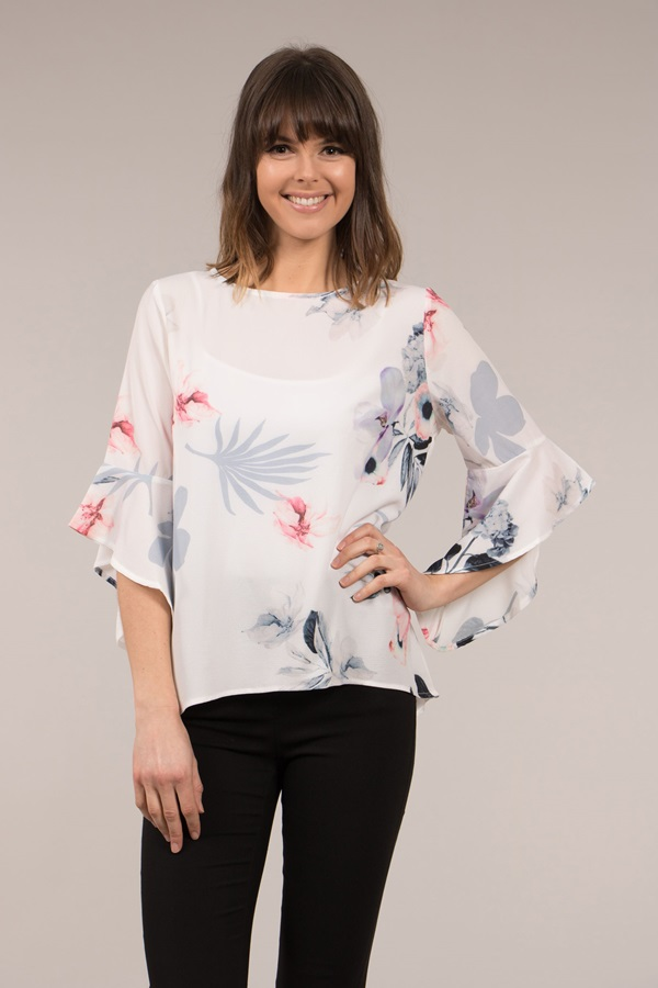 Floral Frill Sleeve Blouse