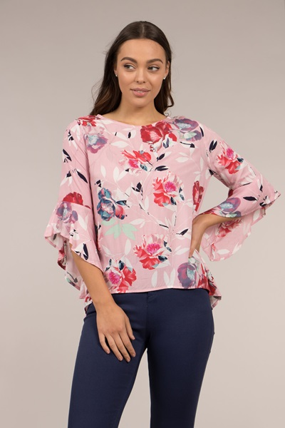 FLORAL PRINT FRILL SLEEVE BLOUSE
