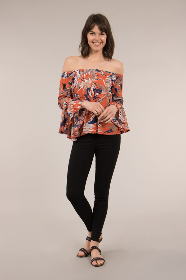 Fluted sleeves off shoulder top