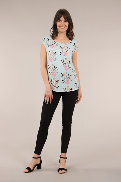 SHELL TOP WITH CUFF SLEEVES