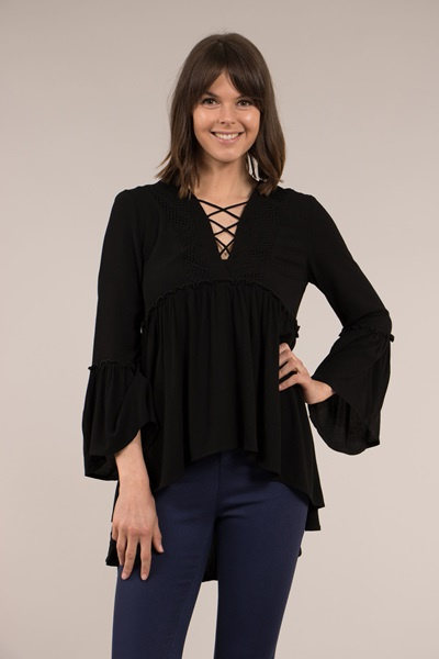 WAIST FRILL LACE UP TOP