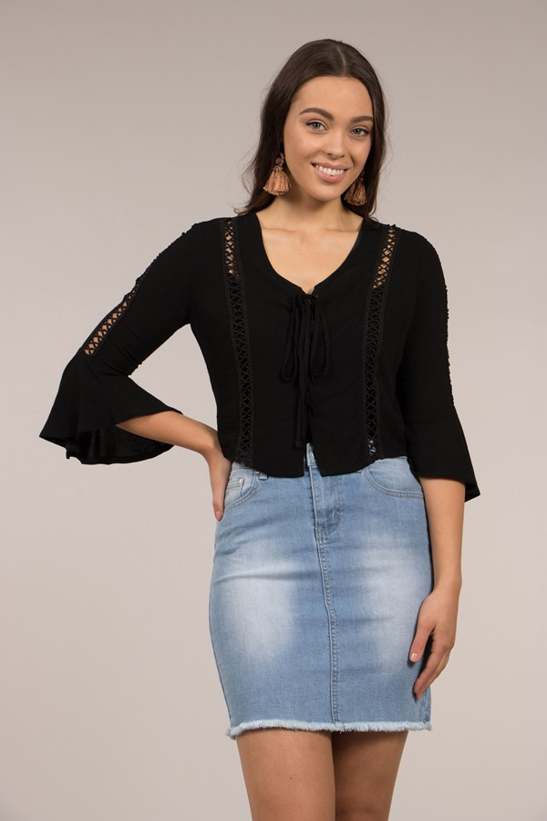 Front Lace-Up Flute Sleeve Top