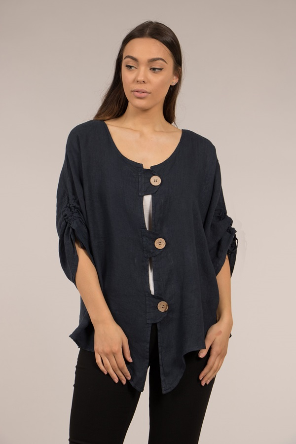 RUCHED SLEEVE LINEN TOP