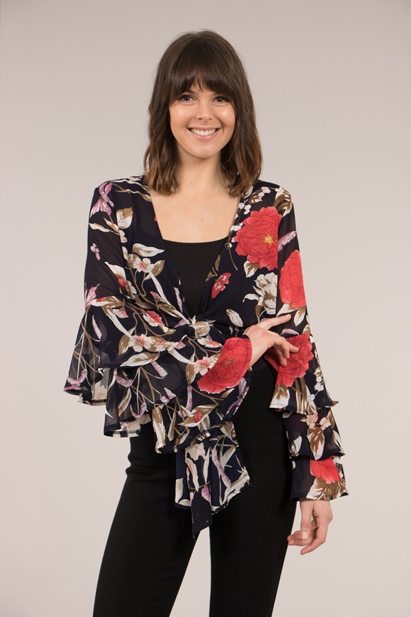 Tie Front Frill Sleeve Top
