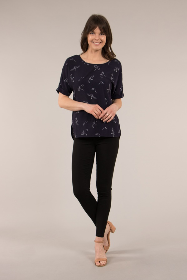 Bird Print Shell Top