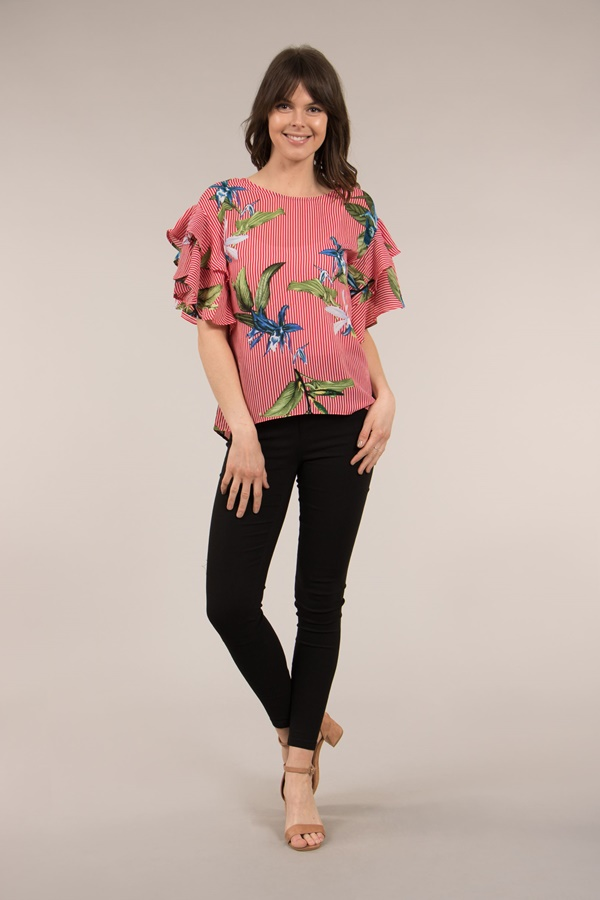 3/4 Frill Sleeve  Top