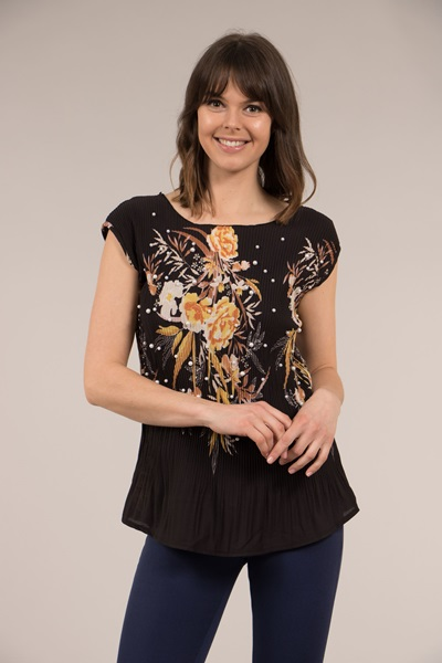 Tropical Print Pleated Top