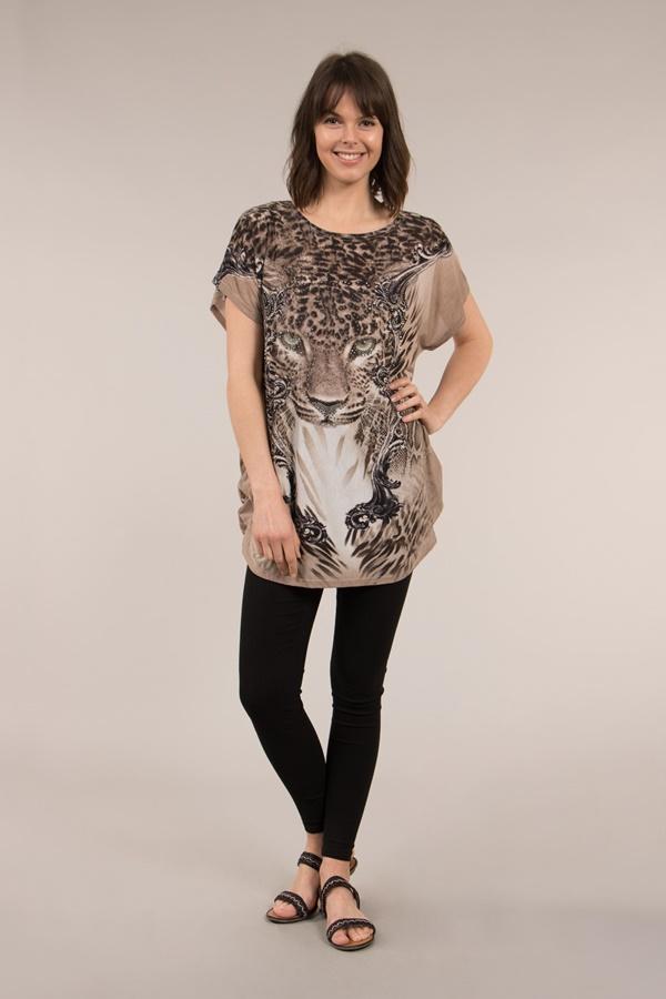 Short Sleeve Animal Print Top